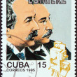 "CUBA - CIRCA 1995: A stamp printed in Cuba from the ""Centenary of Motion Pictures. Designs showing film stars"" issue shows Auguste and Louis Lumiere, circa 1995. — Stock Photo"