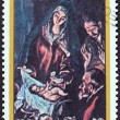 "NICARAGUA - CIRCA 1983: A stamp printed in Nicaragua from the ""Christmas "" issue shows Adoration of the Shepherds (El Greco), circa 1983. — Stock Photo"
