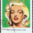 "CUBA - CIRCA 1995: A stamp printed in Cuba from the ""Centenary of Motion Pictures. Designs showing film stars"" issue shows Marilyn Monroe, circa 1995. — Stock Photo"