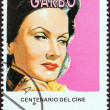 "CUBA - CIRCA 1995: A stamp printed in Cuba from the ""Centenary of Motion Pictures. Designs showing film stars"" issue shows Greta Garbo, circa 1995. — Stock Photo"