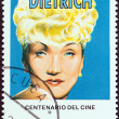 "CUBA - CIRCA 1995: A stamp printed in Cuba from the ""Centenary of Motion Pictures. Designs showing film stars"" issue shows Marlene Dietrich, circa 1995. — Stock Photo"
