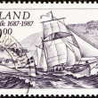 ICELAND - CIRC1987: stamp printed in Iceland issued for 300th anniversary of Olafsvik Trading Station shows ship Svanur (ketch), circ1987. — Stock Photo #35895915