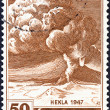 ICELAND - CIRCA 1948: A stamp printed in Iceland shows Mt. Hekla in Eruption, circa 1948. — Stock Photo
