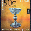 "ICELAND - CIRC2012: stamp printed in Iceland from ""Icelandic craftmanship III"" issue shows chalice made of silver with gothic shape, 15th century AD, circ2012. — Stock Photo #35895959"