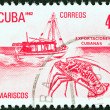 CUBA - CIRCA 1982: A stamp printed in Cuba from the Exports issue shows lobster (seafood), circa 1982.  — Stock Photo