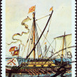 "GUYANA - CIRCA 1990: A stamp printed in Guyana from the ""Sailing Ships"" issue shows Brig Century, circa 1990. — Stock Photo"