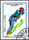 "MADAGASCAR - CIRCA 1991: A stamp printed in Madagascar from the ""Winter Olympic Games, Albertville "" 2nd issue shows Ski jumping, circa 1991. — Stock Photo"