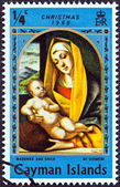 """CAYMAN ISLANDS - CIRCA 1969: A stamp printed in Cayman Islands from the """"Christmas """" issue shows Madonna and Child by Vivarini, circa 1969. — Stock Photo"""