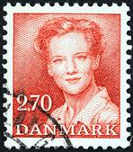 DENMARK - CIRCA 1982: A stamp printed in Denmark shows Queen Margrethe II, circa 1982. — Foto Stock