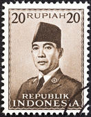 INDONESIA - CIRCA 1951: A stamp printed in Indonesia shows President Sukarno, circa 1951. — Foto Stock