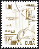 """CUBA - CIRCA 1982: A stamp printed in Cuba from the """"Exports"""" issue shows cement, circa 1982. — Foto de Stock"""
