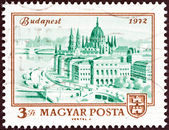 HUNGARY - CIRCA 1972: A stamp printed in Hungary issued for the centenary of unification of Buda, Obuda and Pest as Budapest shows Parliament Building, Budapest, circa 1972. — Stock Photo