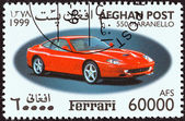 "AFGHANISTAN - CIRCA 1999: A stamp printed in Afghanistan from the ""Ferrari Automobiles "" issue shows a Ferrari 550 Maranello, circa 1999. — Stock Photo"