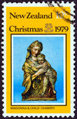 "NEW ZEALAND - CIRCA 1979: A stamp printed in New Zealand from the ""Christmas "" issue shows Madonna and Child (sculpture, Lorenzo Ghiberti), circa 1979. — Stock Photo"