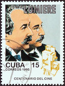 """CUBA - CIRCA 1995: A stamp printed in Cuba from the """"Centenary of Motion Pictures. Designs showing film stars"""" issue shows Auguste and Louis Lumiere, circa 1995. — Stock Photo"""