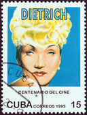 """CUBA - CIRCA 1995: A stamp printed in Cuba from the """"Centenary of Motion Pictures. Designs showing film stars"""" issue shows Marlene Dietrich, circa 1995. — Stock Photo"""