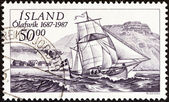 ICELAND - CIRCA 1987: A stamp printed in Iceland issued for the 300th anniversary of Olafsvik Trading Station shows ship Svanur (ketch), circa 1987. — Stock Photo