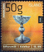 """ICELAND - CIRCA 2012: A stamp printed in Iceland from the """"Icelandic craftmanship III"""" issue shows chalice made of silver with gothic shape, 15th century AD, circa 2012. — Stock Photo"""