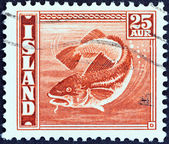 ICELAND - CIRCA 1939: A stamp printed in Iceland shows Codfish (Gadus morhua), circa 1939. — Stock Photo