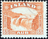 ICELAND - CIRCA 1931: A stamp printed in Iceland shows Gullfoss Falls, circa 1931. — Stock Photo
