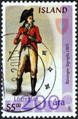 "ICELAND - CIRCA 2003: A stamp printed in Iceland from the ""Icelandic Police Force bicentenary"" issue shows Policeman, 1803, circa 2003. — Stock Photo"