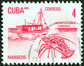 "CUBA - CIRCA 1982: A stamp printed in Cuba from the ""Exports"" issue shows lobster (seafood), circa 1982. — Foto de Stock"