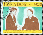 "ECUADOR - CIRCA 1967: A stamp printed in Ecuador from the ""John F. Kennedy, 50th birth anniversary"" issue shows John F. Kennedy and Dag Hammarskjold, circa 1967. — Stock Photo"