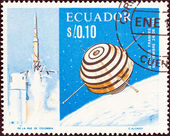 ECUADOR - CIRCA 1966: A stamp printed in Ecuador shows the first French satellite A-1 (Asterix), circa 1966. — Stock Photo