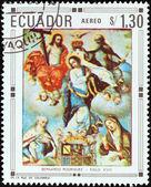 """ECUADOR - CIRCA 1967: A stamp printed in Ecuador from the """"Christmas """" issue shows Coronation of the Holy Virgin by Bernardo Rodriguez, circa 1967. — Stock Photo"""