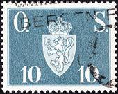 1951 年頃 - ノルウェー: ノルウェーの印刷スタンプはノルウェーの紋章、1951 年頃. — ストック写真