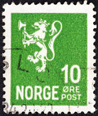 NORWAY - CIRCA 1926: A stamp printed in Norway shows the coat of arms of Norway, circa 1926. — Stock Photo