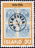 ICELAND - CIRCA 1976: A stamp printed in Iceland issued for the centenary of Icelandic Aurar Currency Stamps shows Iceland 5a, stamp with Reykjavik Postmark, 1876, circa 1976. — Stock Photo