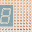 Seven segment led single digit display on a copper breadboard background — Stock Photo