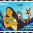 "GHAN- CIRC1996: stamp printed in Ghanfrom ""1996 National Stamp Exhibition, Orlando, US- Disney Friends - Disney Cartoon Characters "" issue shows Pocahontas, Meeko and Flit, circ1996. — Stock Photo #36861947"