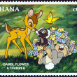 "GHANA - CIRCA 1996: A stamp printed in Ghana from the ""1996 National Stamp Exhibition, Orlando, USA - Disney Friends - Disney Cartoon Characters "" issue shows Bambi, Flower and Thumper, circa 1996. — Stock Photo"