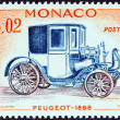 "MONACO - CIRCA 1961: A stamp printed in Monaco from the ""Veteran Cars "" issue shows Peugeot, 1898, circa 1961. — Stock Photo #36862121"