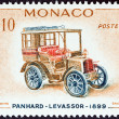 MONACO - CIRCA 1961: A stamp printed in Monaco from the Veteran Cars  issue shows Panhard-Levassor, 1899, circa 1961.  — Stock Photo