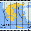 "GREECE - CIRCA 1978: A stamp printed in Greece from the ""Greek state"" issue shows a map of Greece, circa 1978. — Stock Photo"