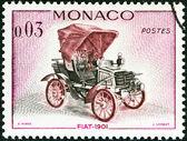"MONACO - CIRCA 1961: A stamp printed in Monaco from the ""Veteran Cars "" issue shows Fiat, 1901, circa 1961. — Stockfoto"