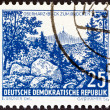 GERMAN DEMOCRATIC REPUBLIC - CIRCA 1961: A stamp printed in Germany from the Landscapes and Historical Buildings  issue shows Brocken, Oberharz, circa 1961. — Stock Photo