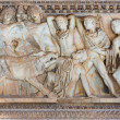 Ancient Greek sarcophagus with a relief about the hunt of the Calydonian boar — Stock Photo