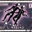 "Stock Photo: SAN MARINO - CIRC1970: stamp printed in Italy from ""Signs of Zodiac "" issue shows Gemini, circ1970."