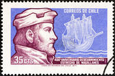 CHILE - CIRCA 1971: A stamp printed in Chile issued for the 450th anniversary of discovery of Magellan Straits shows Magellan and Caravel, circa 1971. — Stock Photo