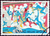 "GREECE - CIRCA 1973: A stamp printed in Greece from the ""Archaeological Discoveries, Island of Thera (Santorini) "" issue shows Blue Apes (fresco), circa 1973. — Stock Photo"