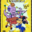 "Stock Photo: DOMINICA - CIRCA 1979: A stamp printed in Dominica from the ""International Year of the Child. Walt Disney Cartoon Characters "" issue shows Mickey Mouse, circa 1979."