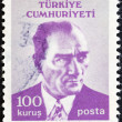 Stock Photo: TURKEY - CIRCA 1971: A stamp printed in Turkey shows a portrait of Kemal Ataturk, circa 1971.