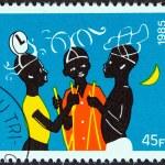 "BURKINA FASO - CIRCA 1985: A stamp printed in Burkina Faso from the ""Dodo Carnival"" issue shows three dancers, circa 1985. — Stock Photo"