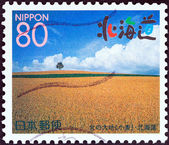 """JAPAN - CIRCA 1999: A stamp printed in Japan from the """"Northern Paradise (Hokkaido) """" issue shows wheat field, circa 1999. — Stock Photo"""