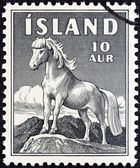 ICELAND - CIRCA 1958: A stamp printed in Iceland shows Icelandic Pony, circa 1958. — Stock Photo