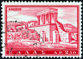 "GREECE - CIRCA 1961: A stamp printed in Greece from the ""Tourist Publicity"" issue shows Knossos palace, circa 1961. — Stock Photo"